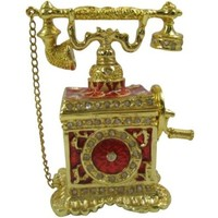 Red Vintage Telephone Bejeweled Collectible Trinket Jewelry Box