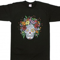 Flower Head II-Unisex Black T-Shirt