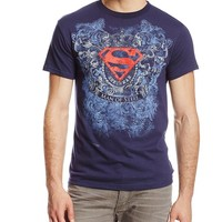 DC Comics Men's Superman Testament T-Shirt, Navy, X-Large