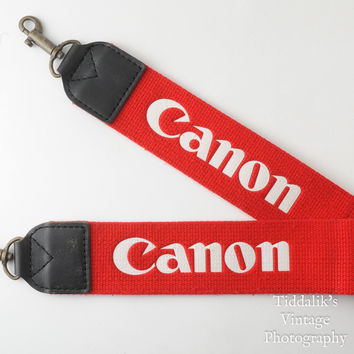 Vintage Genuine Canon Red Wide Canvas Camera Strap with Corded Strap Lugs