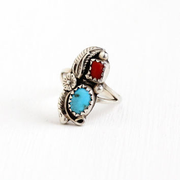 Vintage Sterling Silver Turquoise & Coral Ring - Size 4 1/4 Retro 1970s Native American Tribal Southwestern Flower Blue Red Gem Jewelry