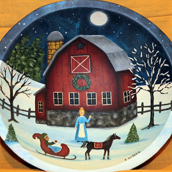 Primitive Folk Art Painting, Winter Scene Wood Bowl, Red Rustic Barn, Sleigh Ride, Christmas Country Scene,  One Horse Sleigh  MADE TO ORDER