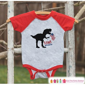 Boys 4th of July Shirt - Rawr White and Blue - Dinosaur 4th of July Onepiece or T-shirt - Boys or Girls Red Raglan - Funny Patriotic Shirt
