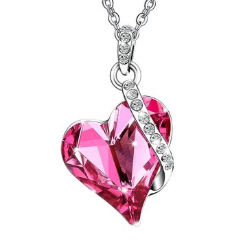 Menton Ezil Valentines Gifts Love Heart Swarovski Crystals Pendent Silver Plated Adjustable Necklace