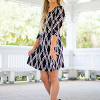 Thinking Of You Dress, Black/White