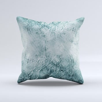 Grungy Teal Wavy Abstract Surface Ink-Fuzed Decorative Throw Pillow