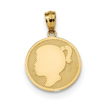 14k Yellow Gold Girl Silhouette Cameo Disc Pendant, 15mm (9/16 inch)