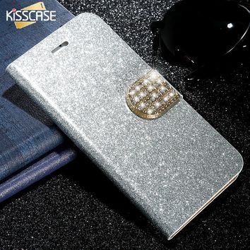 KISSCASE Bling Crystal Case For iPhone 5 5S 5G SE Leather Matte Flip Cover Luxury Rhinestone Wallet Stand For Apple iPhone 5 SE