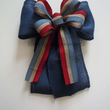 Blue Jute Burlap Fourth 4th of July Bow Red White Blue Patriotic Bows July 4th Door Wreath Bow Independence Day Bow Patriotic Decoration Bow