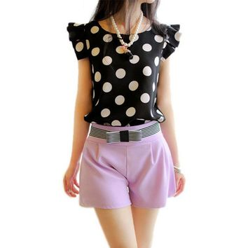 Summer Women Polka Dot Casual Tee Shirt Ruffled Shirt Tops Slim Fit Newest 4558