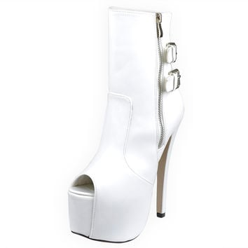 Womens Mid Calf Boots Reverse Buckle Accent Sexy High Heels White SZ