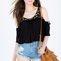 Cold Shoulder Crochet Trim Crop