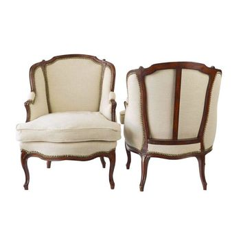Pre-owned Vintage French Down Bergere Chairs - A Pair