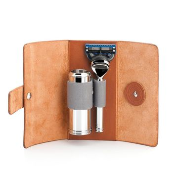 Mühle TRAVEL, Vegetable-Tanned Cowhide Travel Case, Fusion Razor & Travel Brush