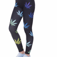 Colorful maryjane Weeds Printed leggings for Women