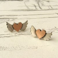 Silver & Copper Heart With Wings Earrings