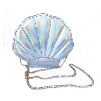 Metallic Seashell Shoulder Bag