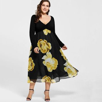 Plus Size Floral Empire Waist Chiffon Midi Long Sleeve V Neck Dress