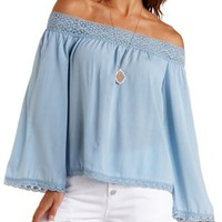 Crochet-Trim Off-the-Shoulder Peasant Top