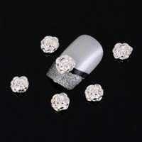Vip Beauty Shop Silver Rose Flower 10 Pieces Silver 3d Alloy Nail Art Slices Glitters DIY Decorations