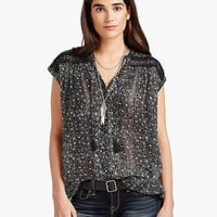 Lucky Brand Floral Inset Top Womens