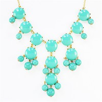 Turquoise Bubble Necklace - bold statement necklace with gold chain