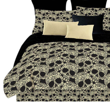 Veratex Home Decorative Bedding Flower Skulls Comforter Set D.King Black/Tan