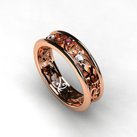 Rose gold filigree ring with Ruby and diamonds, rose gold engagement ring, filigree wedding ring, ruby wedding, red gold ring, pink ruby