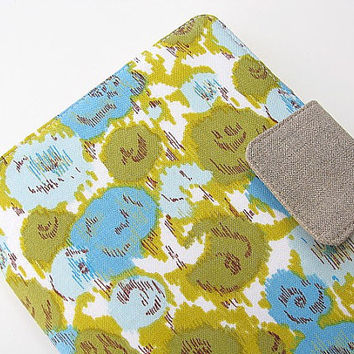 iPad Mini Cover Kindle Fire Cover Nook Simple Touch Cover Kobo Cover Case Modern Roses Floral Flowered Green Blue eReader