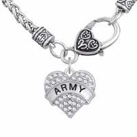Lemegeton Military Jewelry ARMY & ARMY BRAT  DAUGHTER SISTER   MOM GIRL Fashion Crystal Heart Pendant Jewelry Necklaces