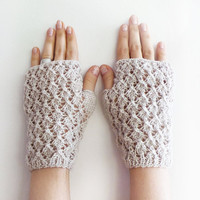 Christmas Sale 20 % OFF Beige Diamond Line Fingerless Gloves, geometric Arm Warmers
