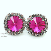 Pink silver Stud earrings Rhinestones Crystal big pink - oxidized silver plated post pink earrings real swarovski rhinestones.