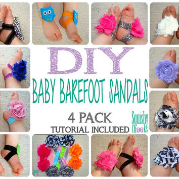 DIY Baby Barefoot Sandal Kit - Make your own - 4 Pairs - You Pick Your Colors, FREE TUTORIAL