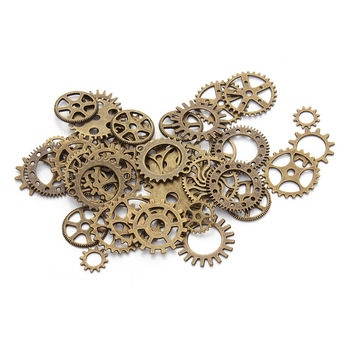 30pc/lot Mixed Antique Bronze Vintage Engrenages Steampunk Gear Metal Charms Pendants Fit DIY Necklaces Bracelets Jewelry F2630B