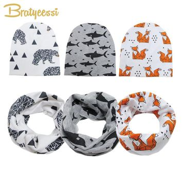 Spring Cotton Baby Beanie Hats Cartoon Print Newborn Hat Elastic Toddler Infant Cap 1 PC