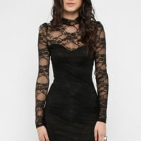 High Collar Lace Dress in Black :: tobi