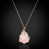 Druzy Geode Agate Pendant ~Natural Stone Necklace ~Crystal Stone  pink