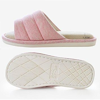 MAGILONA Mens Unisex Washable Cotton Linen Home Slippers Open Toe Indoor House Flax Soft NonSlip Sole Shoes