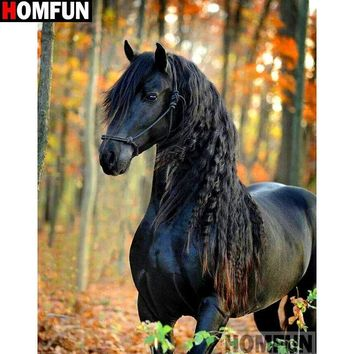 5D Diamond Painting Black Horse by the Trees Kit