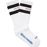 Vetements - Striped Stretch Cotton-Blend Socks