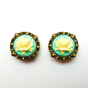 Clip On Earrings, Cameo Rose Earrings in tiffany blue with antique bronze.  victorian vintage style bridesmaids earrings