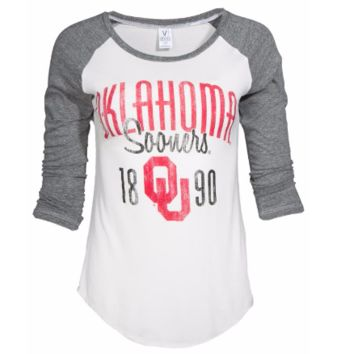 Official NCAA University of Oklahoma Sooners OU Boomer Sooner Women's Baseball Tee