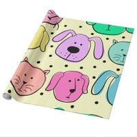 Cute Colorful Pet Pattern Wrapping Paper