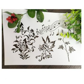 Musical Note Wizard Weed Scrapbooking tool DIY album masking spray painted template drawing stencil laser cut template AP7050315