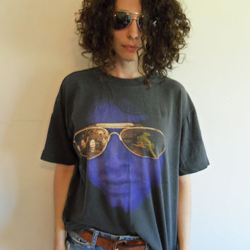 Vintage 90sThe Doors Jim Morrison I am the Lizard King I Can Do Anything Faded Distressed Black T Shirt