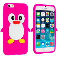 Hot Pink Penguin Silicone Design Soft Skin Case Cover for Apple iPhone 6 6S (4.7)