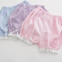 Lolita Lace Plaid Elastic Waist Bloomers