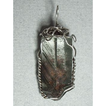 Dendritic Quartz Crystal Pendant Wire Wrapped .925 Sterling Silver