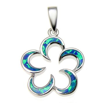 INLAY OPAL HAWAIIAN OPEN PLUMERIA FLOWER STERLING SILVER 925 PENDANT RHODIUM