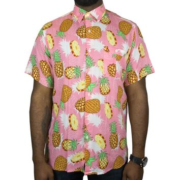 Sliced Pineapples Short-sleeve Button-up in pink
